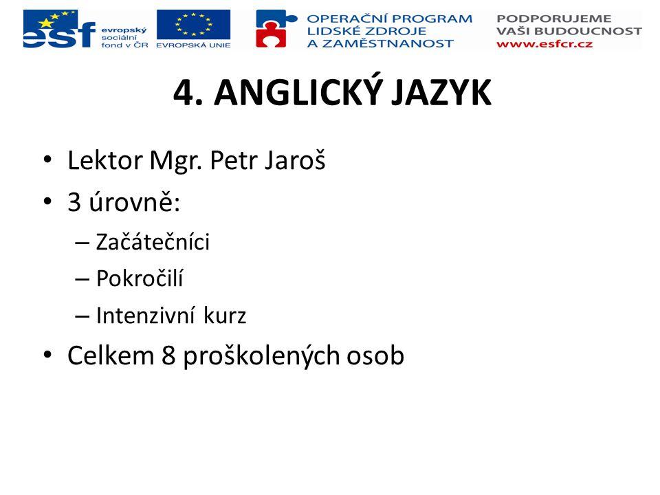 4. ANGLICKÝ JAZYK Lektor Mgr. Petr Jaroš 3 úrovně: – Začátečníci – Pokročilí – Intenzivní kurz Celkem 8 proškolených osob