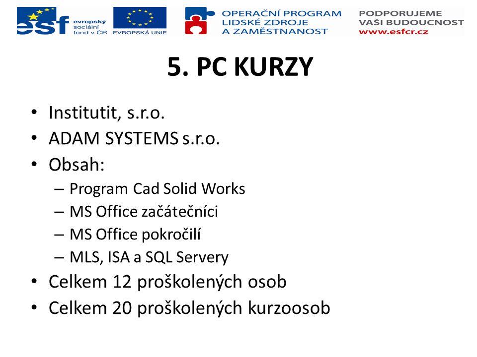 5. PC KURZY Institutit, s.r.o. ADAM SYSTEMS s.r.o. Obsah: – Program Cad Solid Works – MS Office začátečníci – MS Office pokročilí – MLS, ISA a SQL Ser