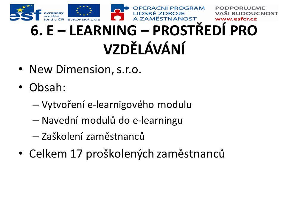 6. E – LEARNING – PROSTŘEDÍ PRO VZDĚLÁVÁNÍ New Dimension, s.r.o. Obsah: – Vytvoření e-learnigového modulu – Navední modulů do e-learningu – Zaškolení