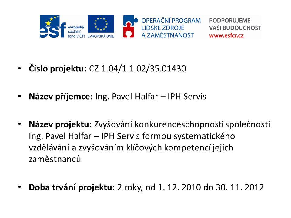 Číslo projektu: CZ.1.04/1.1.02/35.01430 Název příjemce: Ing. Pavel Halfar – IPH Servis Název projektu: Zvyšování konkurenceschopnosti společnosti Ing.