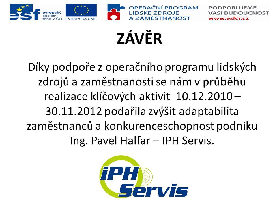ZÁVĚR Díky podpoře z operačního programu lidských zdrojů a zaměstnanosti se nám v průběhu realizace klíčových aktivit 10.12.2010 – 30.11.2012 podařila