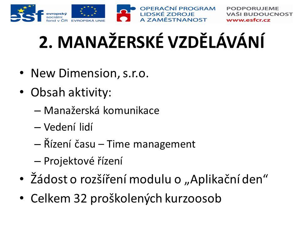 2. MANAŽERSKÉ VZDĚLÁVÁNÍ New Dimension, s.r.o. Obsah aktivity: – Manažerská komunikace – Vedení lidí – Řízení času – Time management – Projektové říze