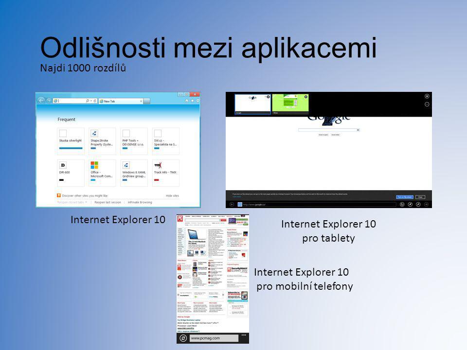 Odlišnosti mezi aplikacemi Najdi 1000 rozdílů Internet Explorer 10 pro tablety Internet Explorer 10 pro mobilní telefony