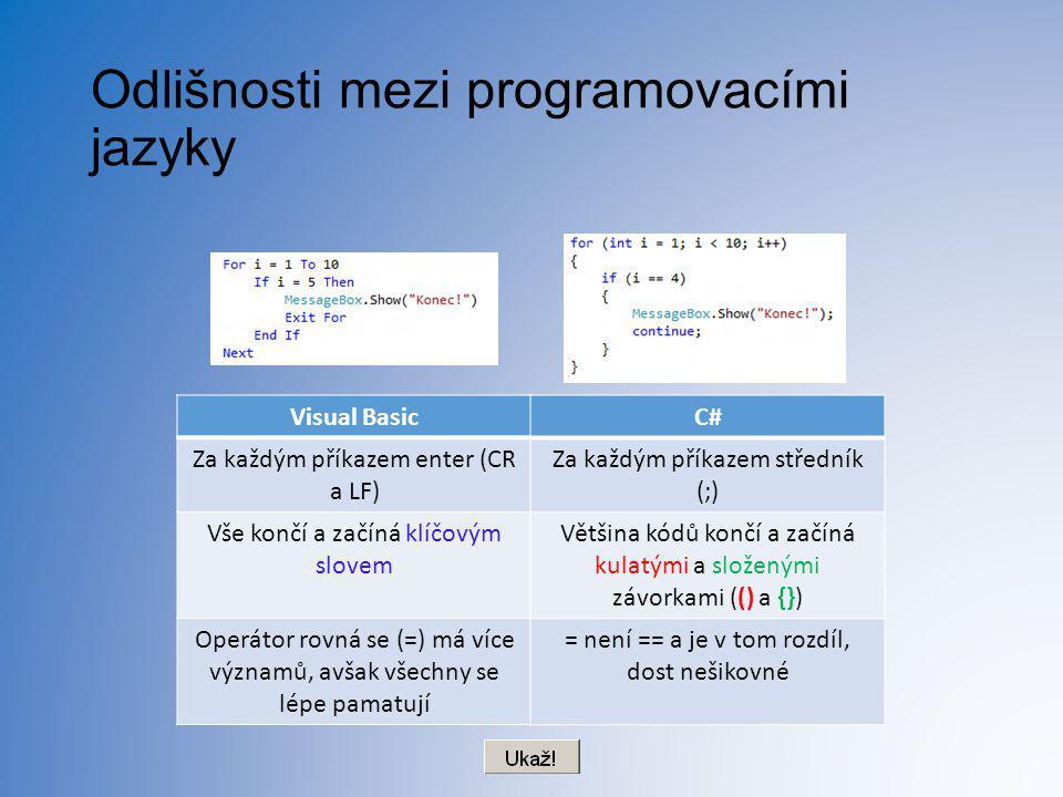 Odlišnosti mezi programovacími jazyky Visual Basic Za každým příkazem enter (CR a LF) Vše končí a začíná klíčovým slovem Operátor rovná se (=) má více
