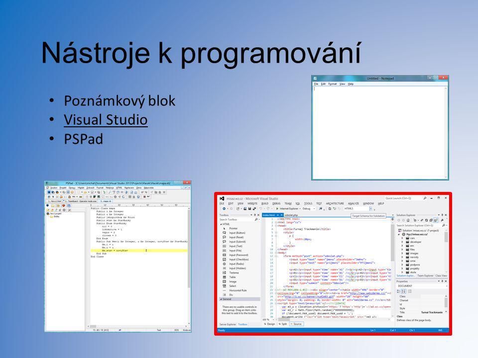 Nástroje k programování Poznámkový blok Visual Studio PSPad