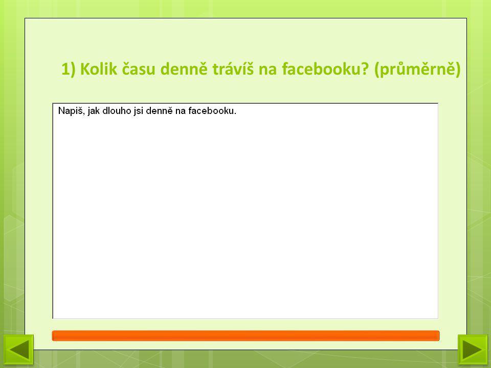 1) Kolik času denně trávíš na facebooku? (průměrně)