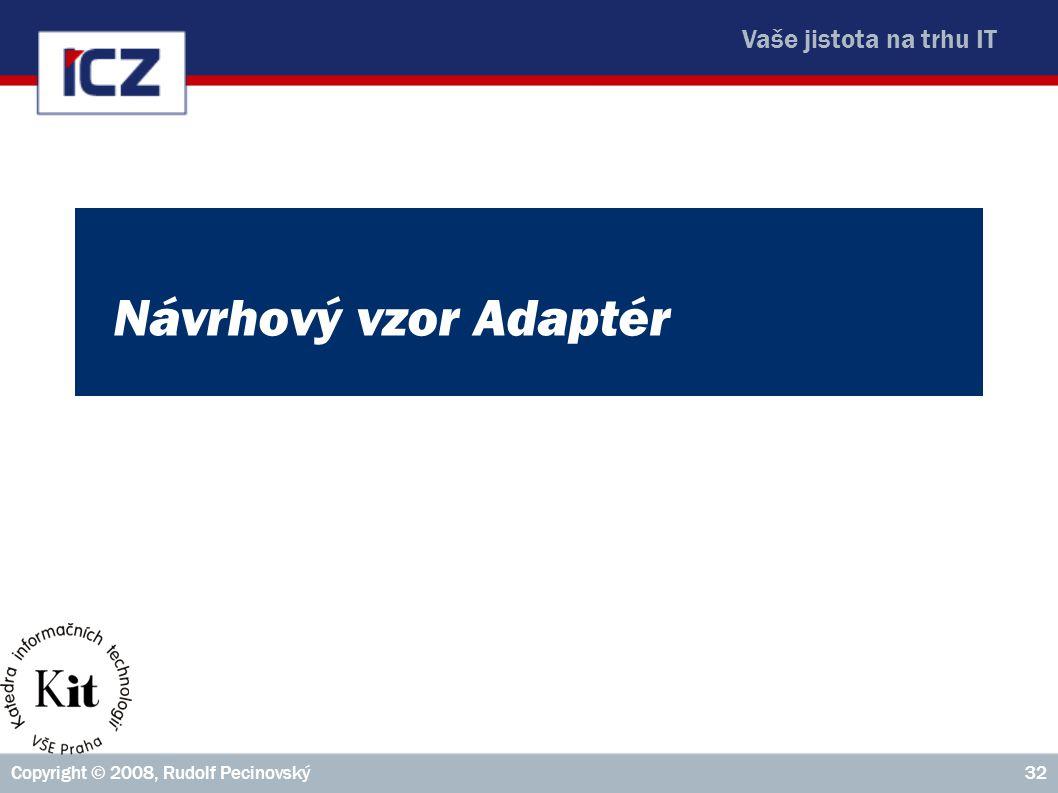 Vaše jistota na trhu IT Copyright © 2008, Rudolf Pecinovský32 Návrhový vzor Adaptér