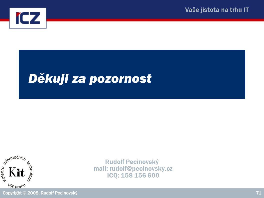Vaše jistota na trhu IT Copyright © 2008, Rudolf Pecinovský71 Děkuji za pozornost Rudolf Pecinovský mail: rudolf@pecinovsky.cz ICQ: 158 156 600