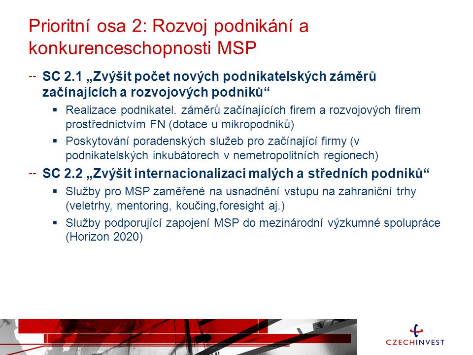 """Prioritní osa 2: Rozvoj podnikání a konkurenceschopnosti MSP SC 2.1 """"Zvýšit počet nových podnikatelských záměrů začínajících a rozvojových podniků"""" """