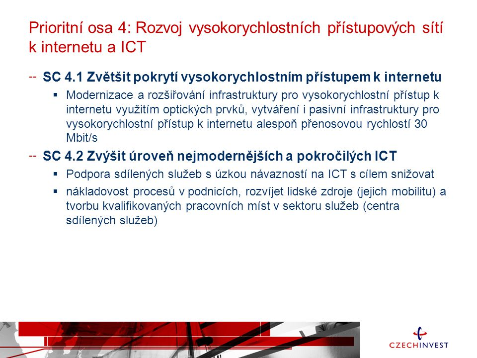 Prioritní osa 4: Rozvoj vysokorychlostních přístupových sítí k internetu a ICT SC 4.1 Zvětšit pokrytí vysokorychlostním přístupem k internetu  Modernizace a rozšiřování infrastruktury pro vysokorychlostní přístup k internetu využitím optických prvků, vytváření i pasivní infrastruktury pro vysokorychlostní přístup k internetu alespoň přenosovou rychlostí 30 Mbit/s SC 4.2 Zvýšit úroveň nejmodernějších a pokročilých ICT  Podpora sdílených služeb s úzkou návazností na ICT s cílem snižovat  nákladovost procesů v podnicích, rozvíjet lidské zdroje (jejich mobilitu) a tvorbu kvalifikovaných pracovních míst v sektoru služeb (centra sdílených služeb)