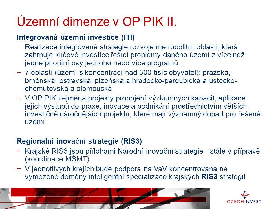 Územní dimenze v OP PIK II. Integrovaná územní investice (ITI) Realizace integrované strategie rozvoje metropolitní oblasti, která zahrnuje klíčové in