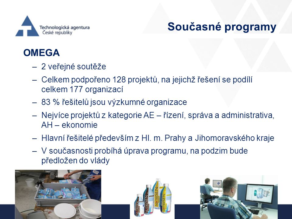 Současné programy OMEGA –2 veřejné soutěže –Celkem podpořeno 128 projektů, na jejichž řešení se podílí celkem 177 organizací –83 % řešitelů jsou výzku