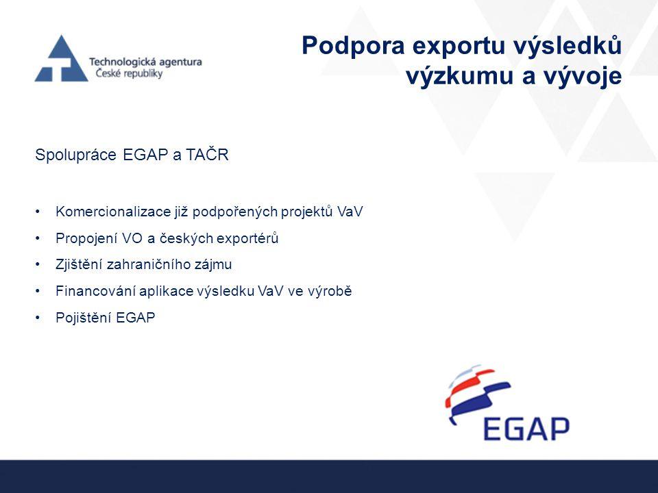 Podpora exportu výsledků výzkumu a vývoje Spolupráce EGAP a TAČR Komercionalizace již podpořených projektů VaV Propojení VO a českých exportérů Zjiště