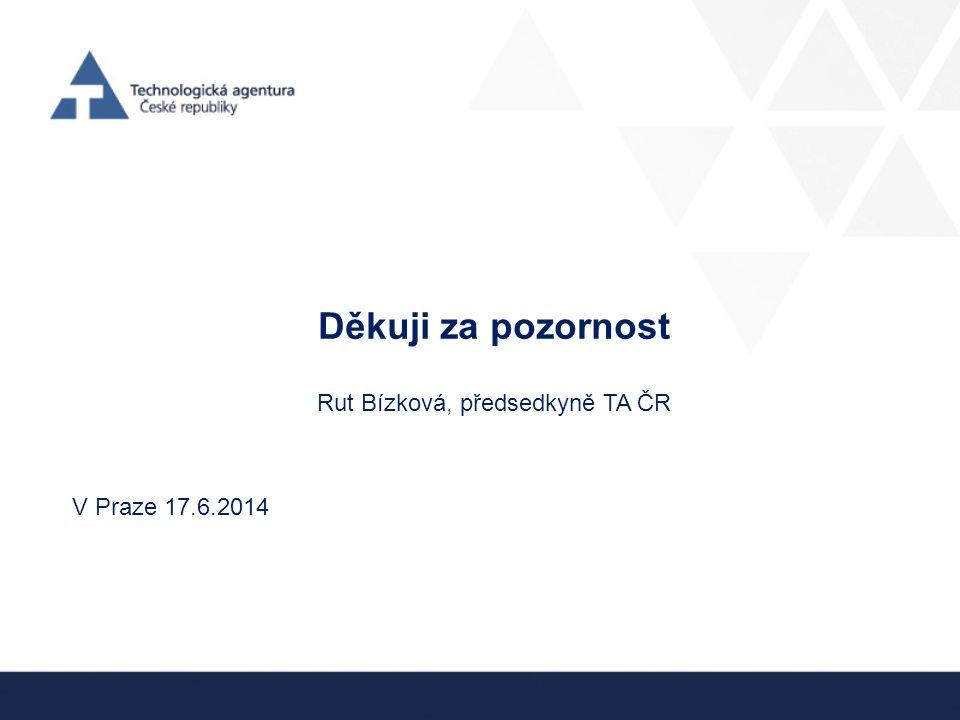 Děkuji za pozornost Rut Bízková, předsedkyně TA ČR V Praze 17.6.2014
