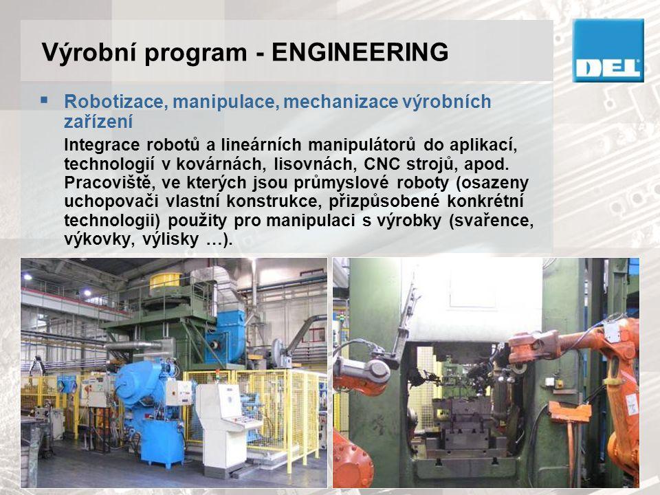 Výrobní program - ENGINEERING  Robotizace, manipulace, mechanizace výrobních zařízení Integrace robotů a lineárních manipulátorů do aplikací, technol