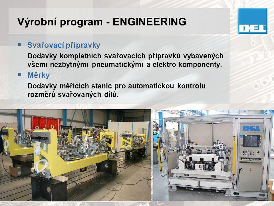 Výrobní program - ENGINEERING  Svařovací přípravky Dodávky kompletních svařovacích přípravků vybavených všemi nezbytnými pneumatickými a elektro komp