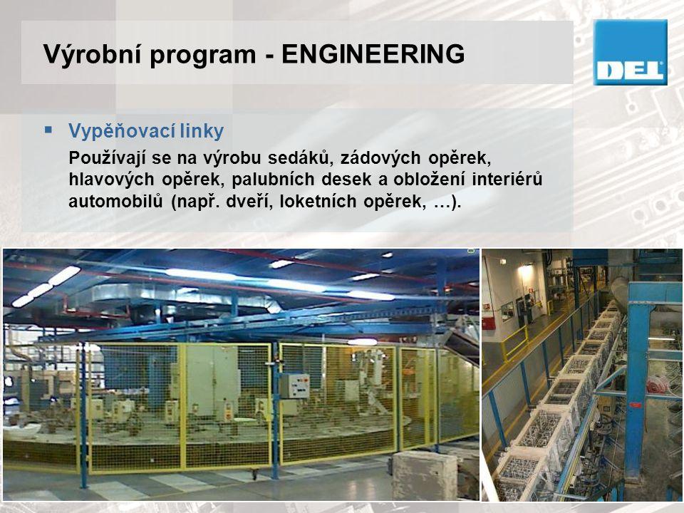 Výrobní program - ENGINEERING  Vypěňovací linky Používají se na výrobu sedáků, zádových opěrek, hlavových opěrek, palubních desek a obložení interiér