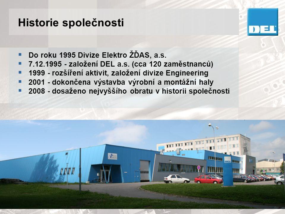 Historie společnosti  Do roku 1995 Divize Elektro ŽĎAS, a.s.  7.12.1995 - založení DEL a.s. (cca 120 zaměstnanců)  1999 - rozšíření aktivit, založe