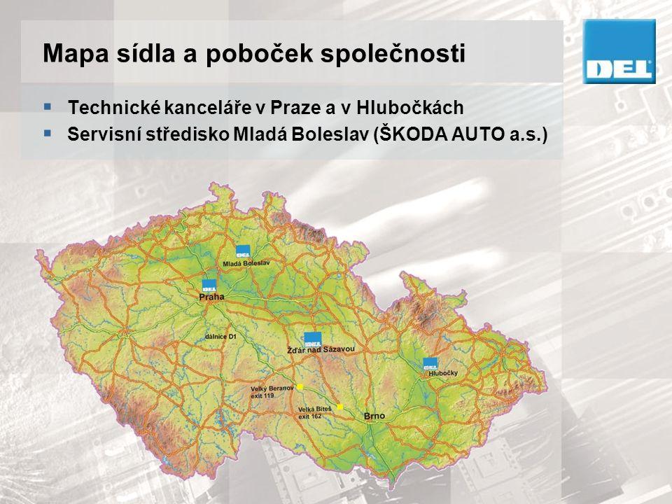 Mapa sídla a poboček společnosti  Technické kanceláře v Praze a v Hlubočkách  Servisní středisko Mladá Boleslav (ŠKODA AUTO a.s.)