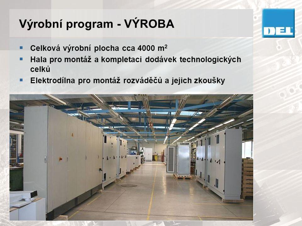Výrobní program - VÝROBA  Celková výrobní plocha cca 4000 m 2  Hala pro montáž a kompletaci dodávek technologických celků  Elektrodílna pro montáž