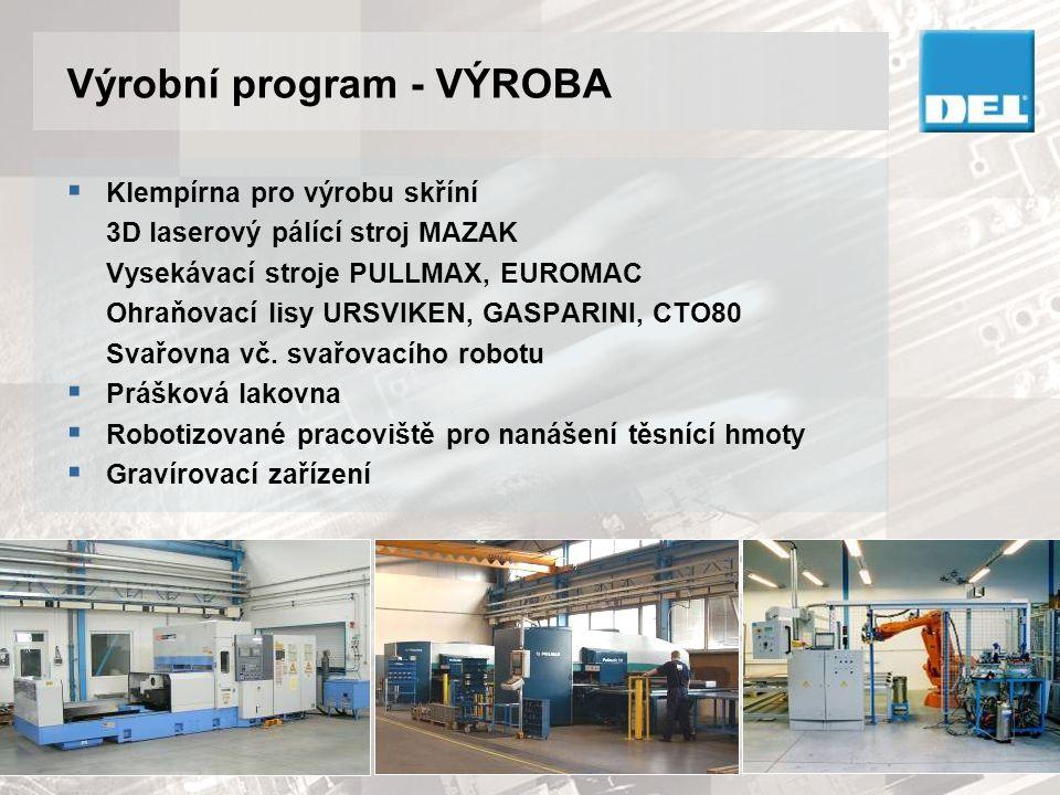 Výrobní program - VÝROBA  Klempírna pro výrobu skříní 3D laserový pálící stroj MAZAK Vysekávací stroje PULLMAX, EUROMAC Ohraňovací lisy URSVIKEN, GAS
