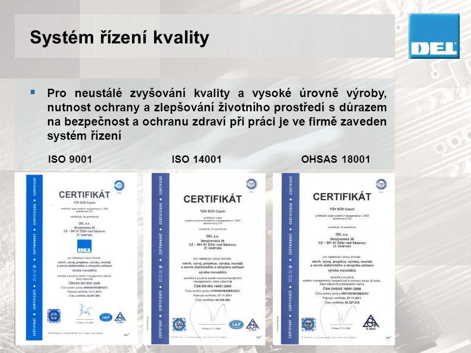 Systém řízení kvality  Pro neustálé zvyšování kvality a vysoké úrovně výroby, nutnost ochrany a zlepšování životního prostředí s důrazem na bezpečnos
