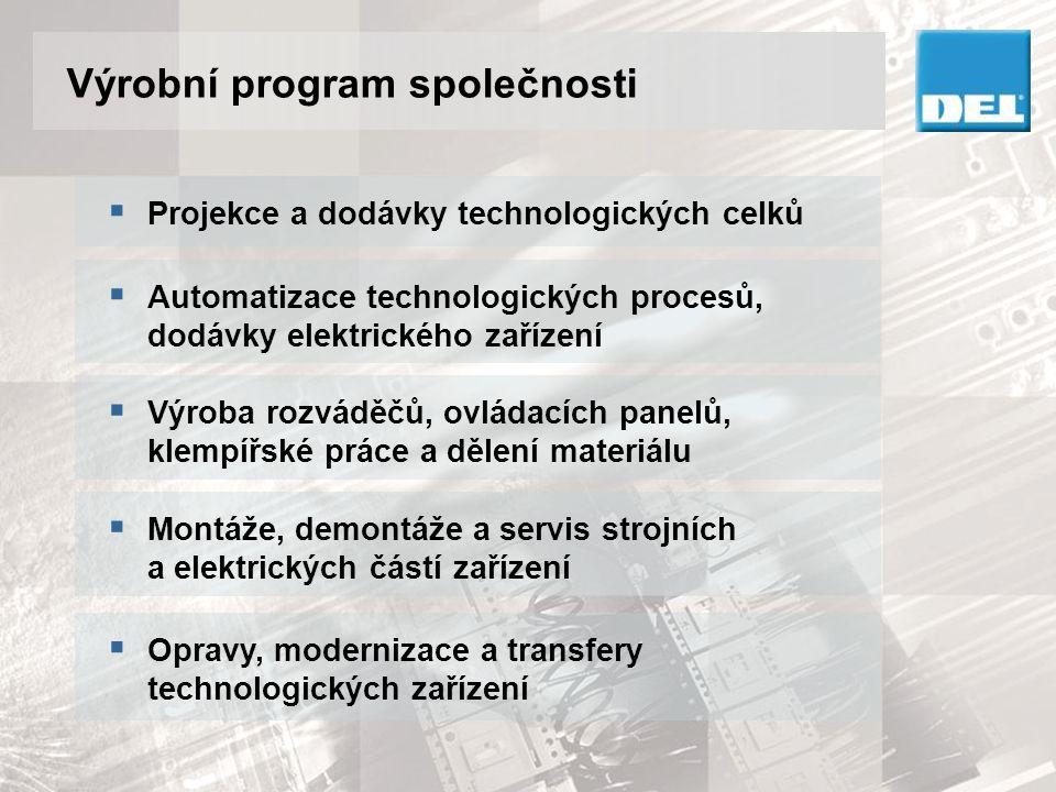 Výrobní program společnosti  Projekce a dodávky technologických celků  Automatizace technologických procesů, dodávky elektrického zařízení  Výroba