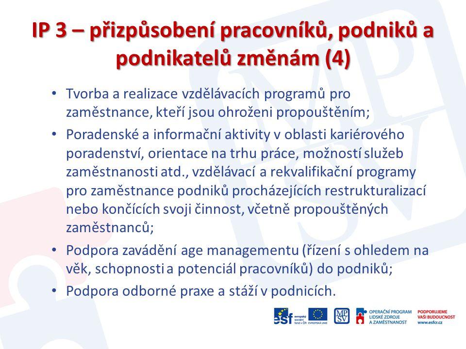 IP 3 – přizpůsobení pracovníků, podniků a podnikatelů změnám (4) Tvorba a realizace vzdělávacích programů pro zaměstnance, kteří jsou ohroženi propouš