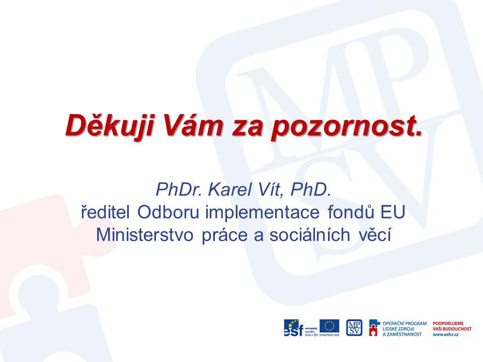 Děkuji Vám za pozornost. Děkuji Vám za pozornost. PhDr. Karel Vít, PhD. ředitel Odboru implementace fondů EU Ministerstvo práce a sociálních věcí