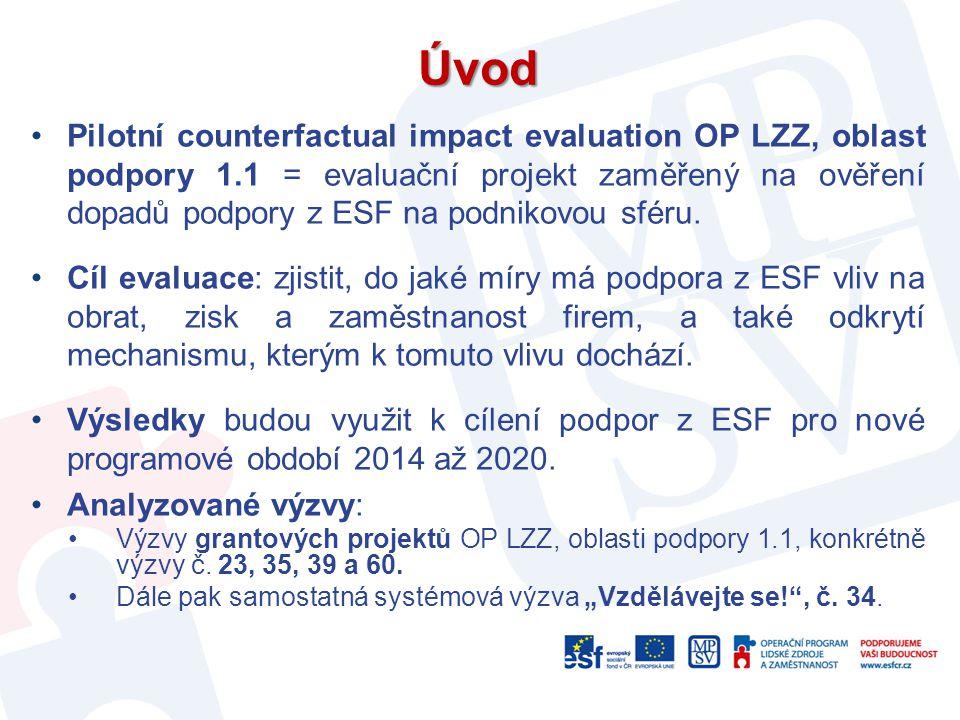 Úvod Pilotní counterfactual impact evaluation OP LZZ, oblast podpory 1.1 = evaluační projekt zaměřený na ověření dopadů podpory z ESF na podnikovou sf