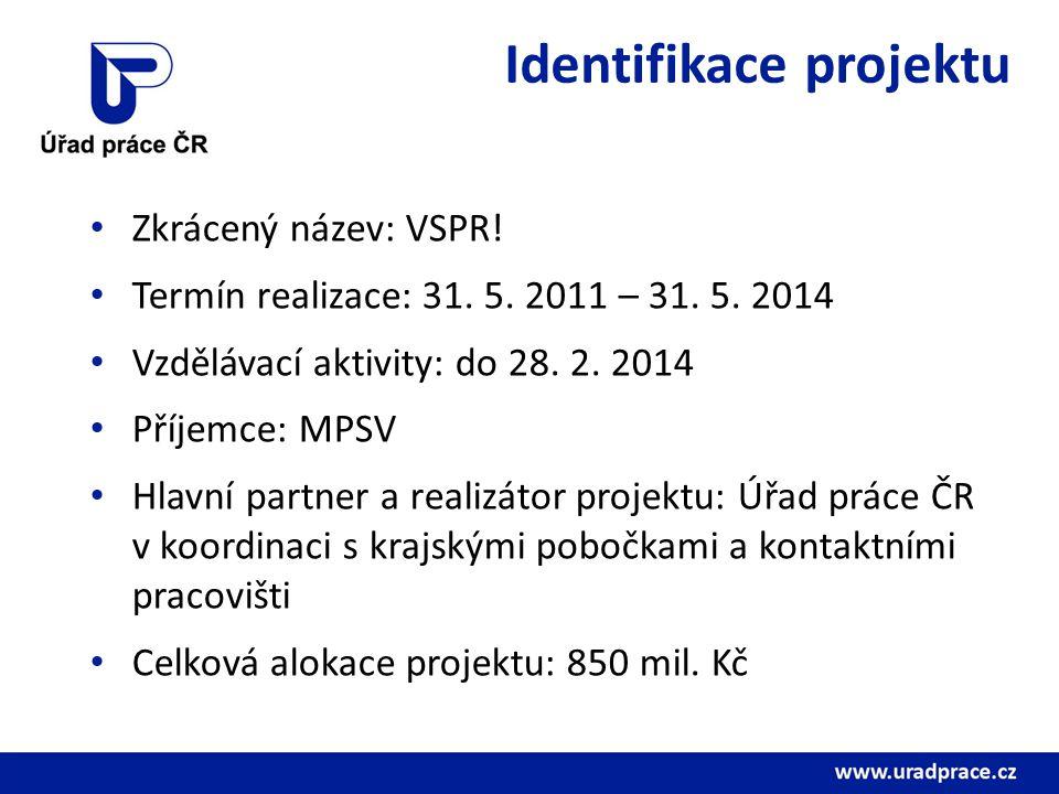 Identifikace projektu Zkrácený název: VSPR! Termín realizace: 31. 5. 2011 – 31. 5. 2014 Vzdělávací aktivity: do 28. 2. 2014 Příjemce: MPSV Hlavní part