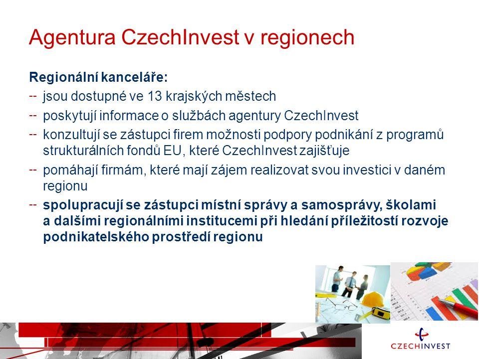 Agentura CzechInvest v regionech Regionální kanceláře: jsou dostupné ve 13 krajských městech poskytují informace o službách agentury CzechInvest konzu