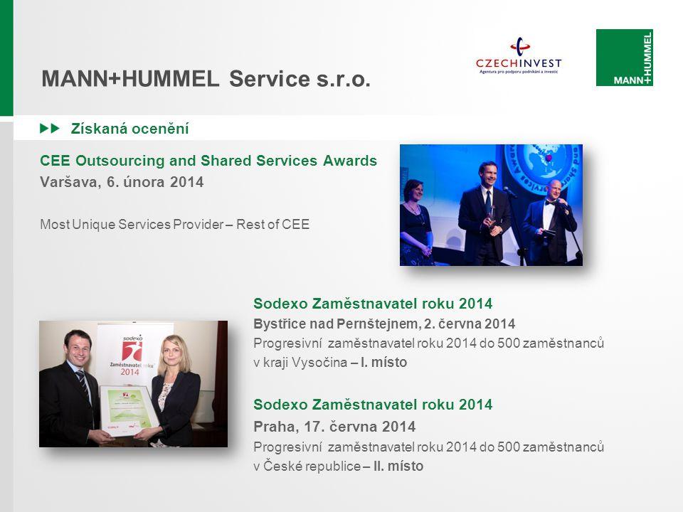 MANN+HUMMEL Service s.r.o. Získaná ocenění CEE Outsourcing and Shared Services Awards Varšava, 6. února 2014 Most Unique Services Provider – Rest of C