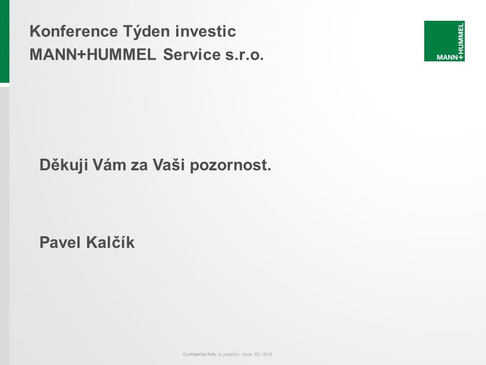 Confidential Refer to protection notice ISO 16016 Konference Týden investic MANN+HUMMEL Service s.r.o. Děkuji Vám za Vaši pozornost. Pavel Kalčík