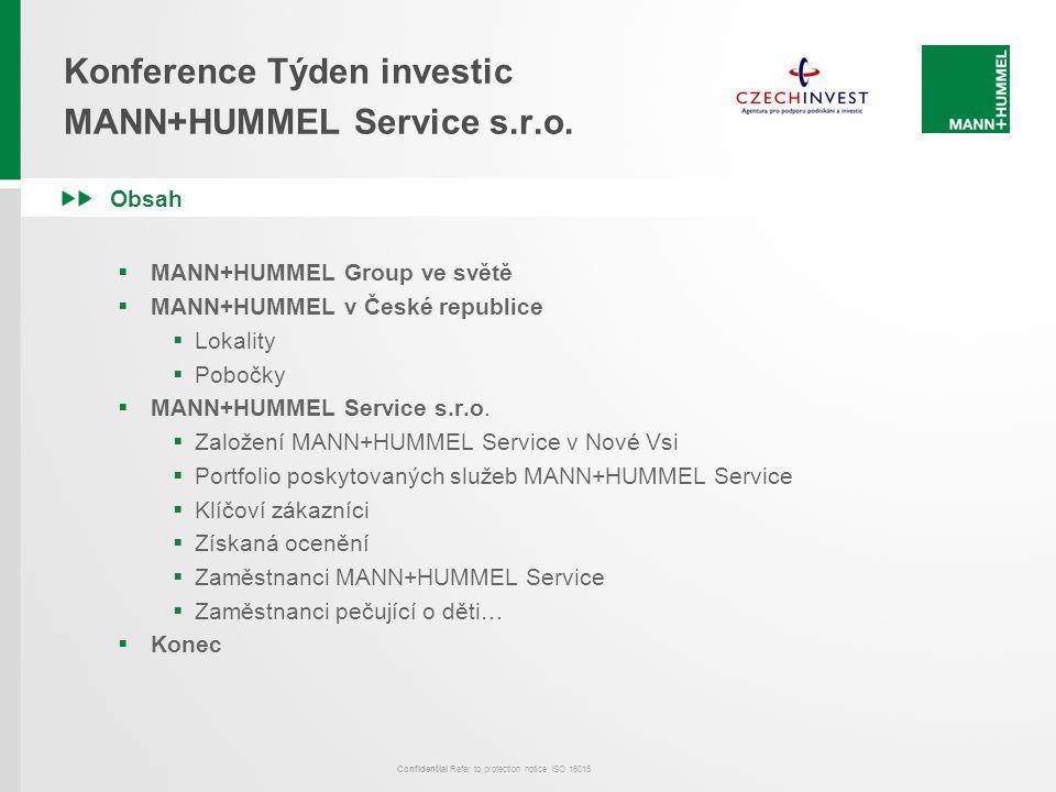 Confidential Refer to protection notice ISO 16016 Konference Týden investic MANN+HUMMEL Service s.r.o. Obsah  MANN+HUMMEL Group ve světě  MANN+HUMME
