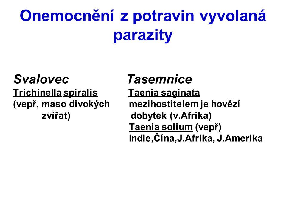 Onemocnění z potravin vyvolaná parazity Svalovec Tasemnice Trichinella spiralis Taenia saginata (vepř, maso divokých mezihostitelem je hovězí zvířat)