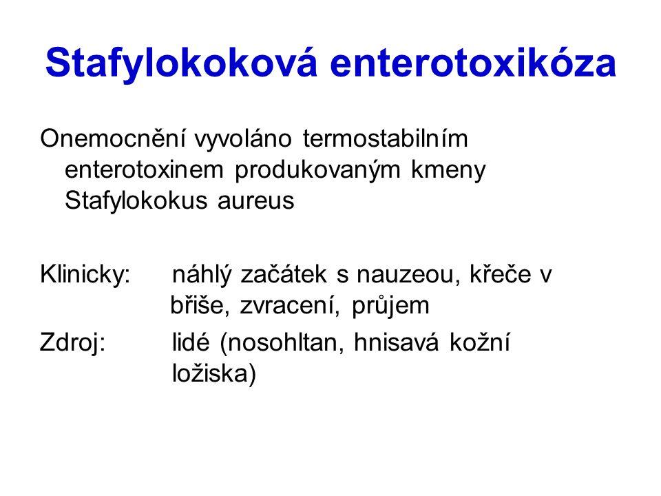 Stafylokoková enterotoxikóza Onemocnění vyvoláno termostabilním enterotoxinem produkovaným kmeny Stafylokokus aureus Klinicky: náhlý začátek s nauzeou