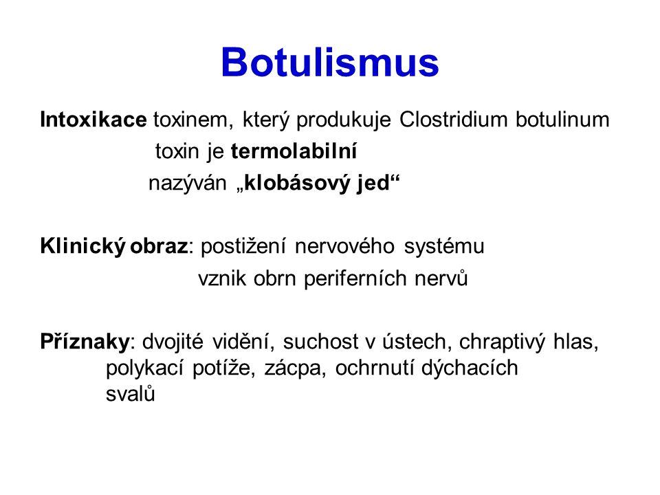 """Botulismus Intoxikace toxinem, který produkuje Clostridium botulinum toxin je termolabilní nazýván """"klobásový jed"""" Klinický obraz: postižení nervového"""