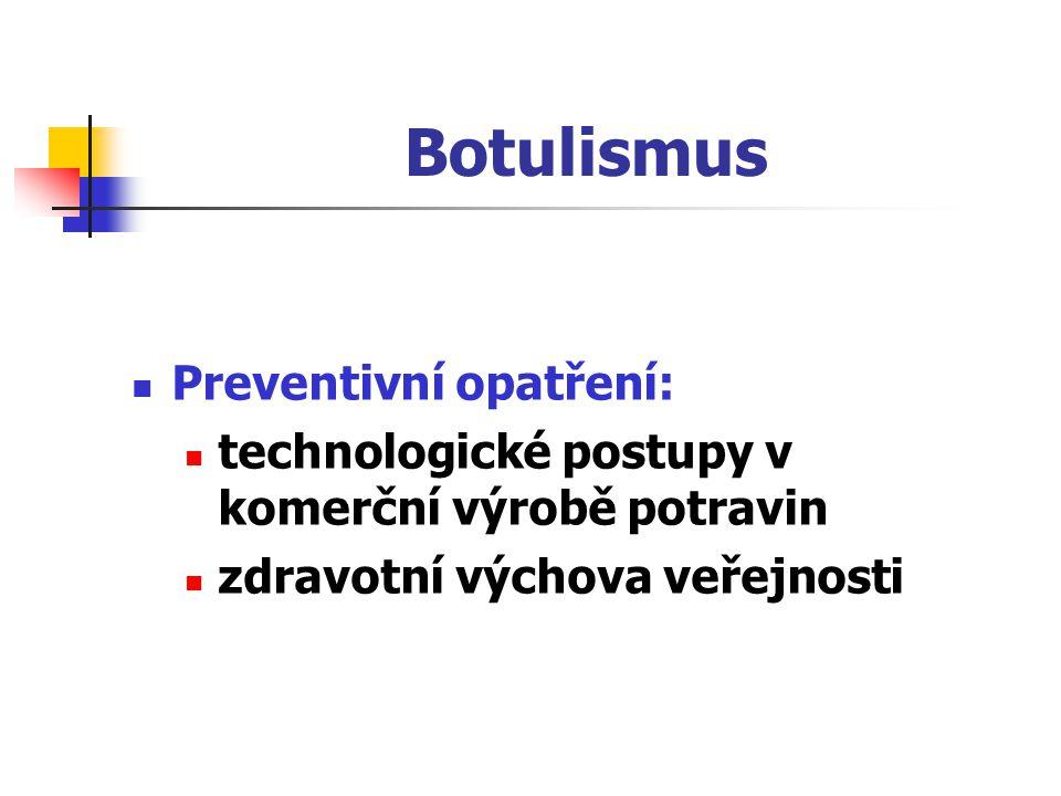Botulismus Preventivní opatření: technologické postupy v komerční výrobě potravin zdravotní výchova veřejnosti
