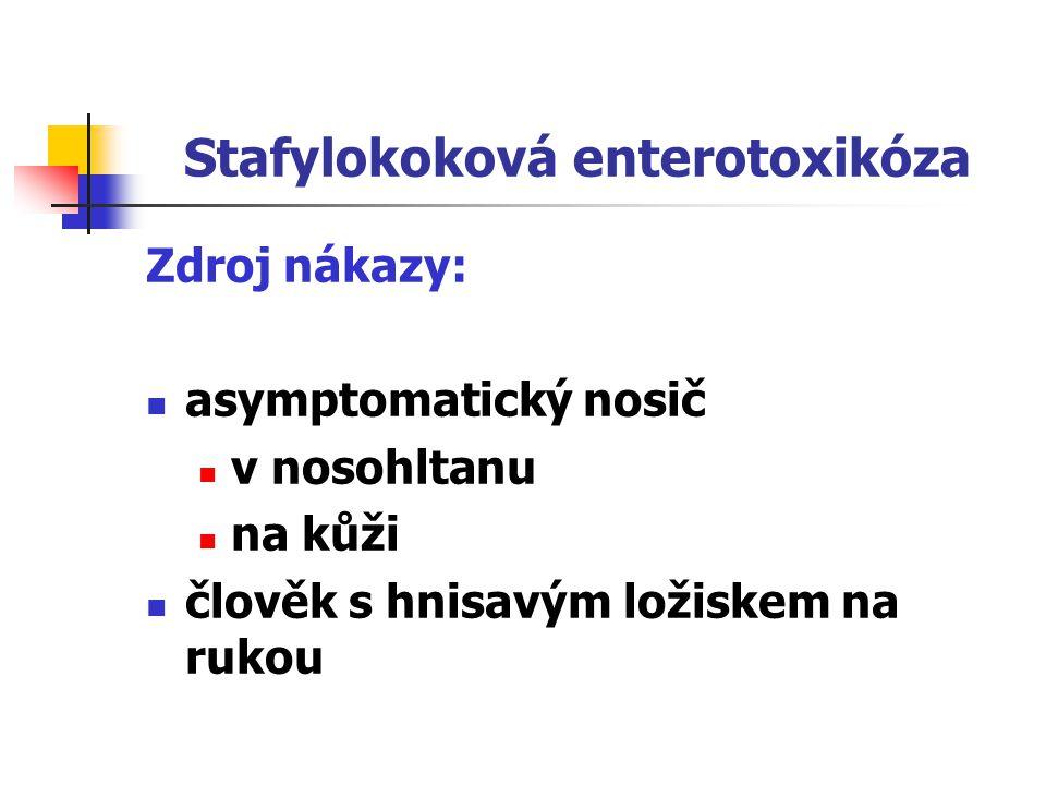 Stafylokoková enterotoxikóza Klinický obraz: náhlý začátek, nausea, křeče v břiše, zvracení, průjmy Diagnostika: epidemiologická anamnéza (epid.