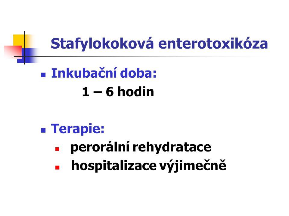 Stafylokoková enterotoxikóza Preventivní opatření: edukace potravinářů a veřejnosti hygienické zásady manipulace se stravou vařená jídla uchovávat buď při T 60°C nebo 4°C dočasné vyloučení nosičů