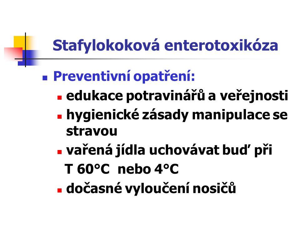 Stafylokoková enterotoxikóza Represivní opatření: hlášení izolace doma bakteriologické vyšetření stolice, zvratků a vzorků stravy sanitární den ve strav.