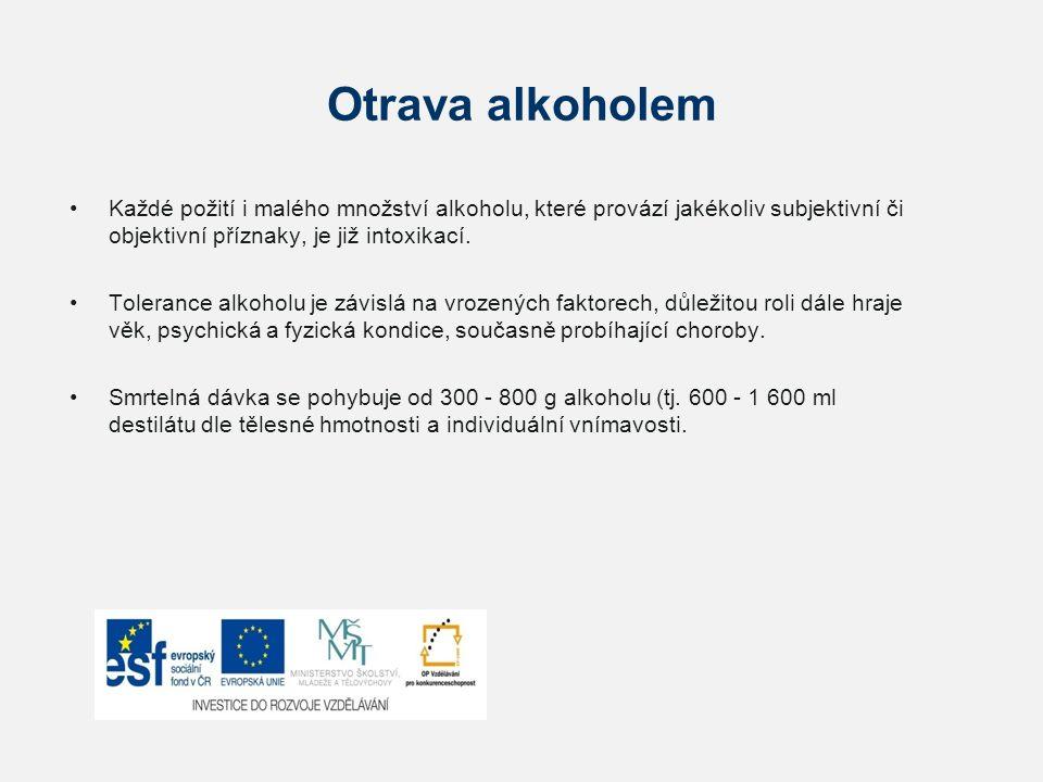 Otrava alkoholem Každé požití i malého množství alkoholu, které provází jakékoliv subjektivní či objektivní příznaky, je již intoxikací. Tolerance alk