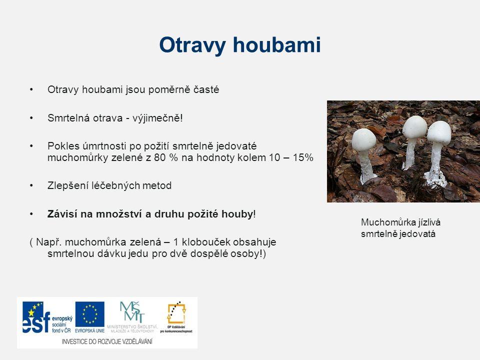 Otravy houbami Otravy houbami jsou poměrně časté Smrtelná otrava - výjimečně! Pokles úmrtnosti po požití smrtelně jedovaté muchomůrky zelené z 80 % na