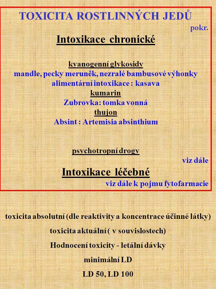 toxicita absolutní (dle reaktivity a koncentrace účinné látky) toxicita aktuální ( v souvislostech) Hodnocení toxicity - letální dávky minimální LD LD 50, LD 100 TOXICITA ROSTLINNÝCH JEDŮ pokr.
