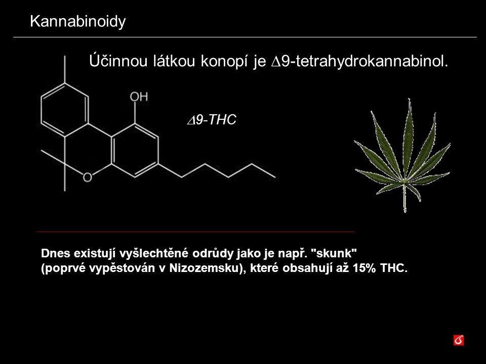 Kannabinoidy  9 -THC Účinnou látkou konopí je  9-tetrahydrokannabinol. Dnes existují vyšlechtěné odrůdy jako je např.