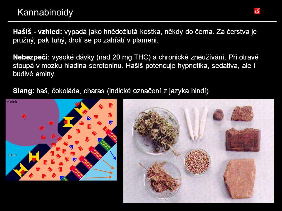 Kannabinoidy Hašiš - vzhled: vypadá jako hnědožlutá kostka, někdy do černa. Za čerstva je pružný, pak tuhý, drolí se po zahřátí v plameni. Nebezpečí: