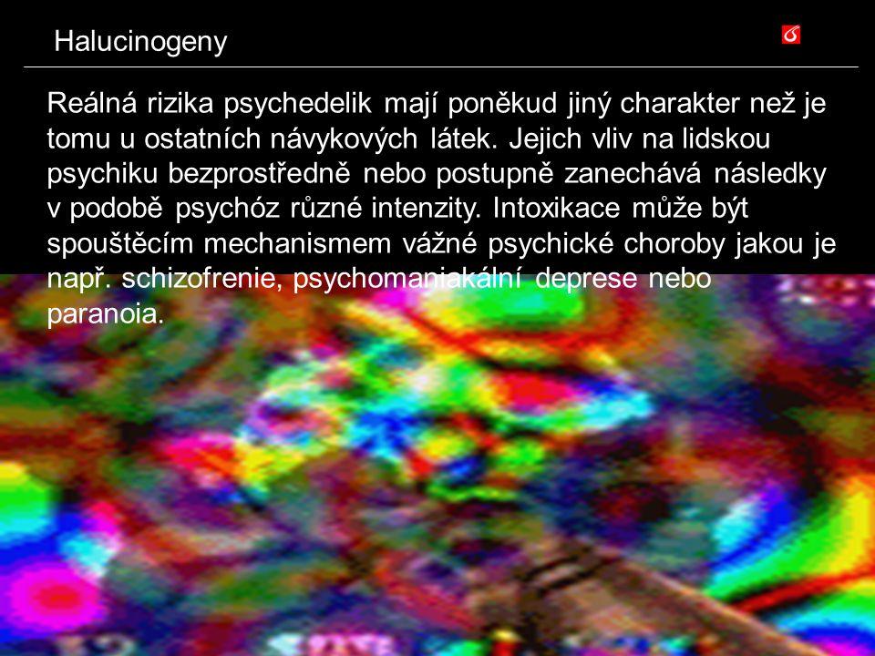 Halucinogeny Reálná rizika psychedelik mají poněkud jiný charakter než je tomu u ostatních návykových látek. Jejich vliv na lidskou psychiku bezprostř