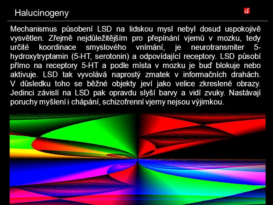 Halucinogeny Mechanismus působení LSD na lidskou mysl nebyl dosud uspokojivě vysvětlen. Zřejmě nejdůležitějším pro přepínání vjemů v mozku, tedy určit