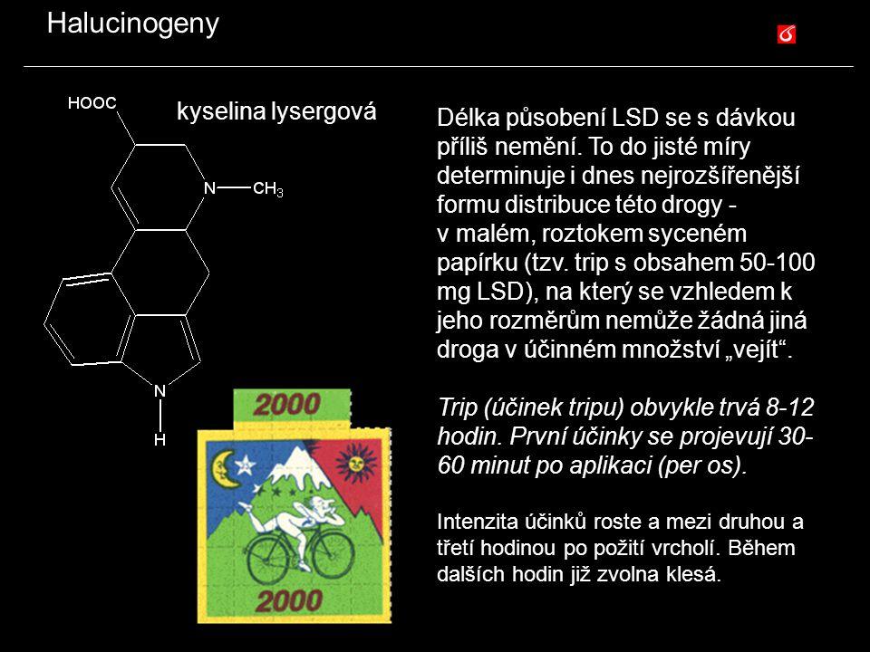Halucinogeny kyselina lysergová Délka působení LSD se s dávkou příliš nemění. To do jisté míry determinuje i dnes nejrozšířenější formu distribuce tét